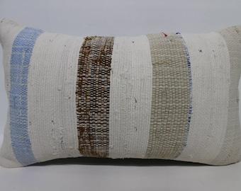 CottonTurkish Pillow,Kilim Pillow Cover Lumbar Pillow 12x20 lumbar kilim pillow outdoor stripe pillow kilim cushion cover SP3050-1751