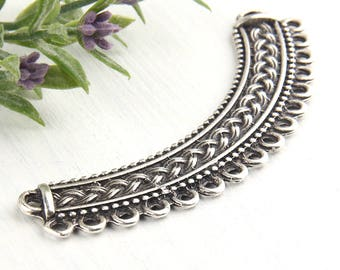 Silver, Large Collar Pendant Connector with Braid Pattern, 1 piece // SC-194