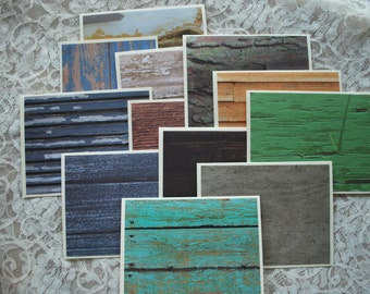 Handmade greeting cards, set of 12, wood grain designs, masculine note cards, peeling paint, bamboo, barn wood, tree bark