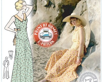 E-Pattern- Lounging at the Lido- 1930s Beach or Lounging Pyjamas and Eton Jacket- Wearing History PDF Vintage Sewing Pattern