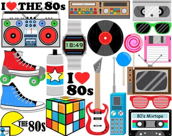 I Love The 80s v1- Digital Clipart, Clip Art Graphics, Personal Use, Commercial Use, Instant download - 88 images (00249)