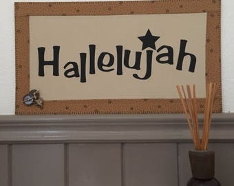 Hallelujah, home decor, fabric sign decor,