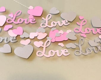 Love and Hearts Confetti / Pink and Gray / Bridal Shower Decor / Bachelorette Party / Wedding Decorations /