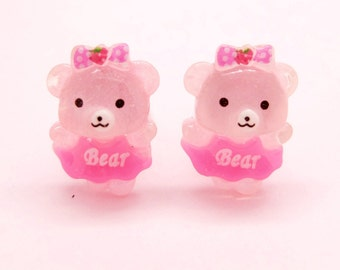 Girly bear clip-on earrings