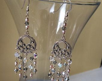 Handmade Bridal/Wedding Swarovski & Freshwater Pearl Silver Chandelier/Drop Earrings