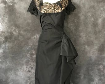 "Vintage 1950's dress black taffeta lace illusion bust hip swag 41"" bust 32"" waist"