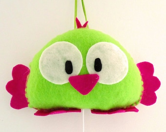 music box happy bird (pink/bright green)