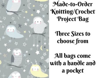 Whimsical Owls, Knitting Project Bag, Large Project Bag, Drawstring, Zippered, Sock Sack, Yarn Tote, Sock Project