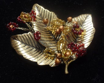Coldwater Creek Triple Leaf and Bead Brooch