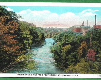 Vintage Postcard - The Willimantic River From A Foot Bridge With Willimantic, Connecticut  in the Distance (3082)