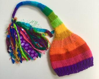 RAiNBoW Stocking Cap, Knit Baby Boy Girl Men Women Hat, Long Tail Tassel Beanie PHoTO PRoP  Newborn Kid Adult Stripe Winter Toque PRiDE Gift