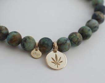 Matte african turquoise cannabis bracelet  -  stretch 420  bracelet  - weed disc - african  turquoise bracelet - weed gemstone bracelet -