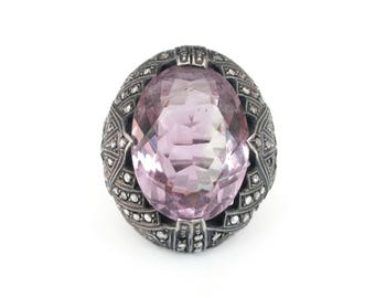 Sterling Germany Amethyst Ring - Art Deco Ring, Marcasites, Purple Amethyst, 6 Carats, Sterling Silver, German Jewelry, Art Deco Jewelry