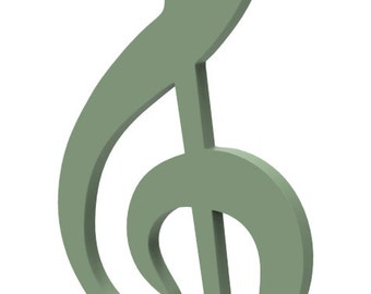 """Wooden G Clef Music Symbol Door or Wall Hanger 14"""" tall Wooden G Clef Music Symbol custom made and painted in your choice of color."""