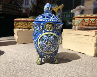 Blue Cup Vase with Carved Top