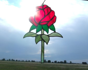 Stained Glass Rose Sun Catcher, Mother's Day Gift
