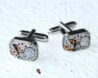 GIRARD PERREGAUX Steampunk Watch Cufflinks - RARE Luxury Swiss Silver Vintage Watch Movement Men Steampunk Cufflinks Cuff Links Wedding Gift