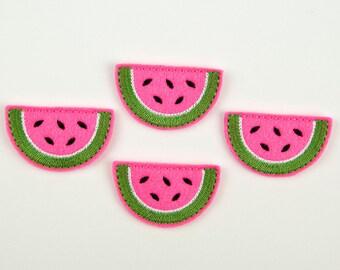 WATERMELON SLICE - Embroidered Felt Embellishments / Appliques - Hot Pink  (Qnty of 4) SCF7060