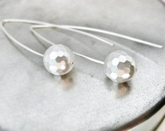 White Faceted Pearl Long Drop Earrings Modern Minimalist Silver Arch Wish Bone Ear Wires Contemporary Bridal Handmade Wedding Jewelry Canada