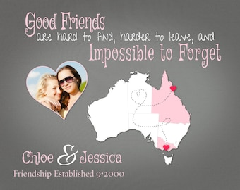 Good Friends are Hard to Leave Quote, Australia Map Art, Personalized Moving Away Gift, Gift for Best Friends, Birthday Gift Idea