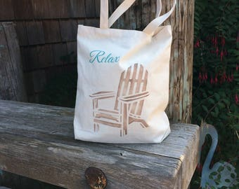 Beach style RELAX handpainted cotton bag, canvas tote for markets or festivals, book or project bag. Knitting, school, groceries, shopping,