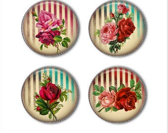 Victorian roses magnets or pins, shabby chic magnets or pins, old fashioned magnets, refrigerator magnets, fridge magnets, office (2)