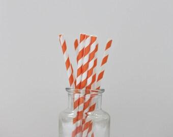 Paper Straws / Orange Straws / Orange Striped Straws / Striped Straws / Party Straws