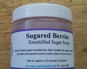Sugared Berries/ Emulsified Sugar Scrub/ Exfolitaing Skin Scrub/ Bath and Body