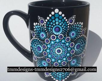 Mugs Various Patterns - Hand Painted,Dot Mandala,dotillism,mother's day,birthday,bridesmaid,shower,teacher,coffee,tea,functional art,getwell