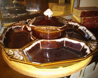 Vintage age BrownDrip Glaze Lazy Susan Snack Condiment by Calif Originals Pottery Large Size