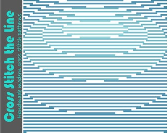 Contemporary cross stitch pattern of calming ripples in the water. Modern embroidery chart. Minimalist design. Ripples