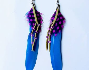 Feather Earrings, 5 colors to choose from.