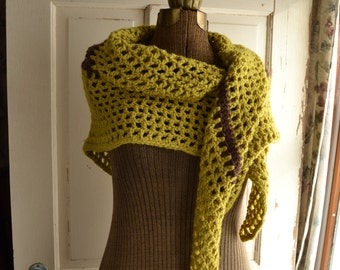 Green Chartreuse Crochet Shawl with Brown Stripe