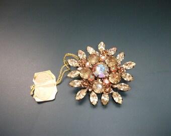 Vintage Tacoa AB Aurora Borealis Rhinesotne Starburst Brooch Pin With Orignal Tag