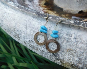 O-Ring + Turquoise Beads Earrings