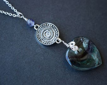 Fluorite Heart Necklace, Purple Necklace, Silver Necklace, Ornate Necklace, Fluorite Necklace, Wire Wrapped Necklace