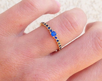 20% off- SALE!! Sapphire Ring - Gold Ring - Tiny Ring - Slim Stack Ring - Dainty Ring - Bezel  Ring - Royal Blue Ring - September Ring