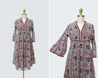 1990s Rosalinda Dress { S } Vintage 90s India Cotton Dress