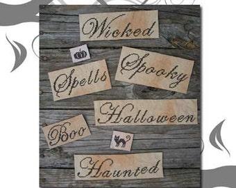 PDF E pattern emailed Primitive Halloween Ornament Sampler Cross Stitch Pattern 95