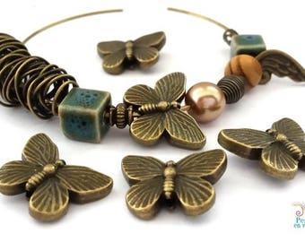 5 beads butterflies antique bronze nickel free, 14x18mm (pm162)