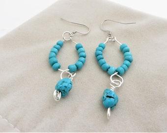 Turquoise Bead, Hoop Earrings with Nugget Drop, Turquoise Wire Earrings, Hoop Earrings with Drop, Artisan Turquoise Earrings