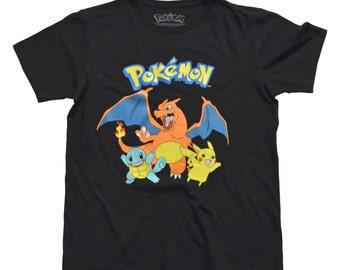 Pokemon Group Nintendo Licensed Black adult shirt  free shipping, sizes small, medium, large: Free shipping