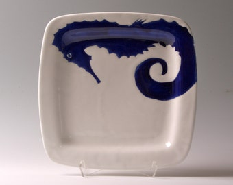 Sold Navy blue, indigo and white seahorse, medium square plate, tray, dinner plate, serving platter