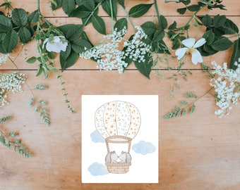 Art print: Squirrels. Frame NOT included. Watercolor print. Nursery Giclée print Illustrated by Fran Rodrigues.