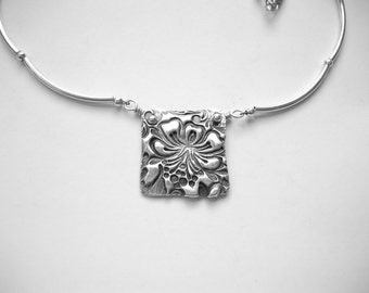 Floral Pendant Necklace  Fine Silver -  Ready to ship!