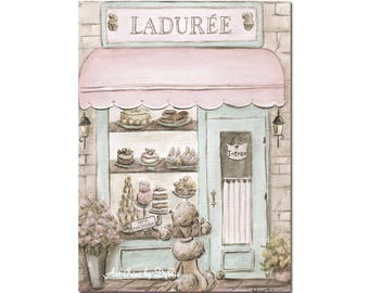 Paris Bedroom Decor Laduree French Patisserie Watercolor Print, Girls Personalized Blush Pink, Shabby Chic, 6 Sizes - 5x7 to 24x36 Poster