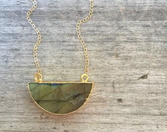 Labradorite Half Moon Necklace - Labradorite Necklace -Half Moon Necklace -Gift under 35 -Unique Gift -Half Moon Necklace -Half Moon Pendant