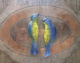 "Cabochon 3.5"" Birds True Blue Canary Yellow  Fused Glass Sculpted Song Bird Cabochon Tiles for Mosaic and Assemblage Art"