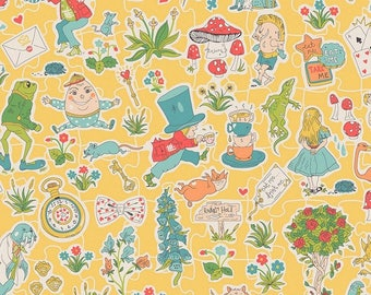 Fabric, Alice in Wonderland of, liberty, Gallymoggers Tana Lawn Cotton