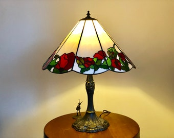 Stained Glass Lamp Flower, Vintage Tiffani Desk Lamp, Lampshade Red Poppy,  Tiffany Style